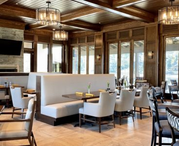 indoor bar seating options with fresh flowers