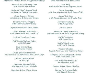 Fiddler's Elbow Hors dOeuvres menu