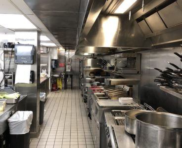 commercial kitchen: pots on stove