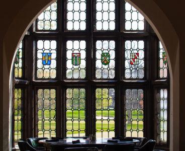 archway, set of glass windows